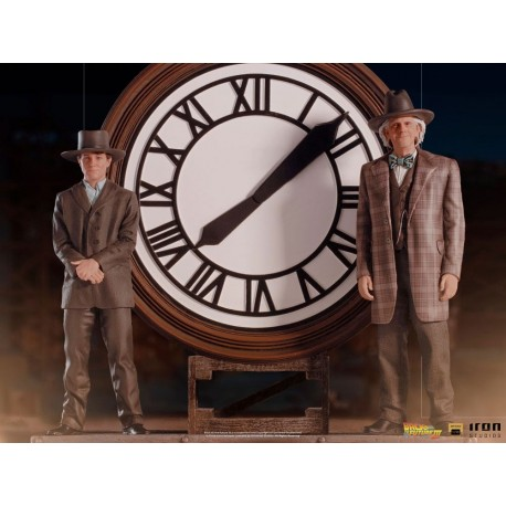 IRON STUDIOS - RETOUR VERS LE FUTUR III - MARTY AND DOC AT THE CLOCK DELUXE ART SCALE 1/10